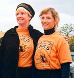 "Melissa Criqui and Marsha Jacobs show off their ""O in the Oaks"" T-shirts for the Morgan Territory A-meet, October 2001 (Photo: Judy Koehler)"
